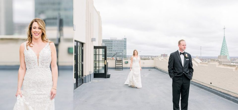 Bride walking up to groom on rooftop of Tulsa Club Hotel for first look