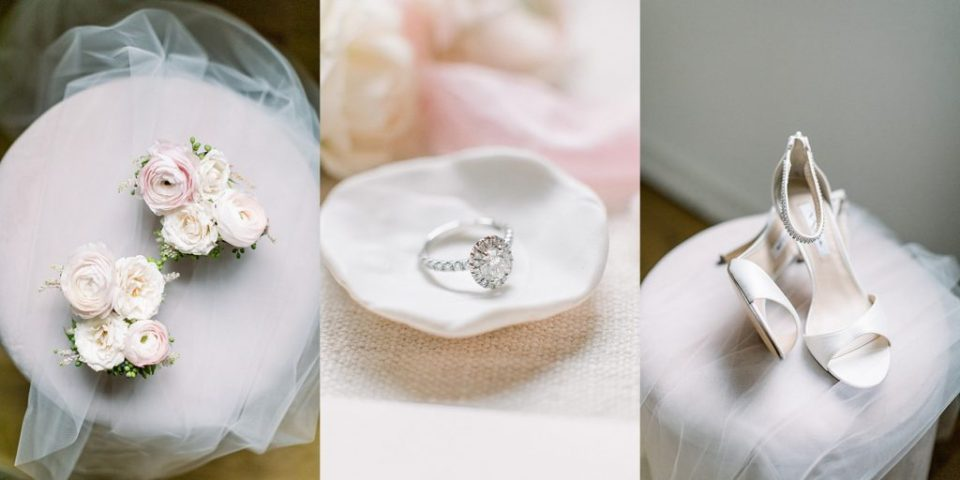 Soft white and pink wedding bouquet, oval wedding ring, white wedding heels