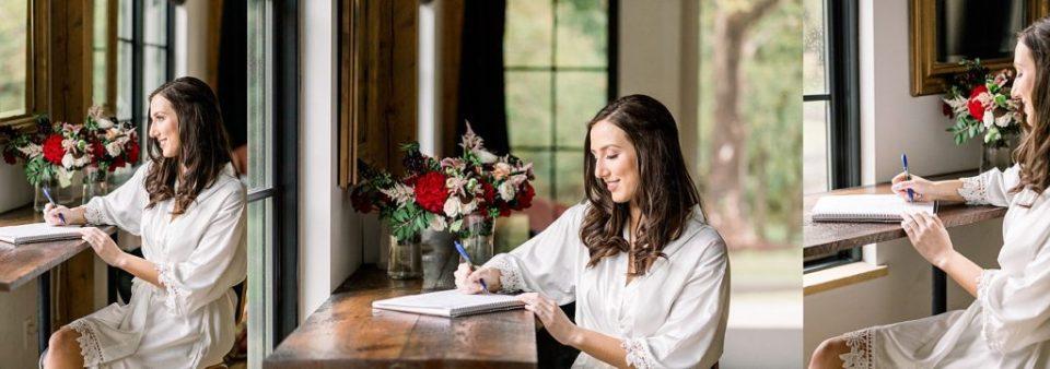 Bride writing wedding vows near window