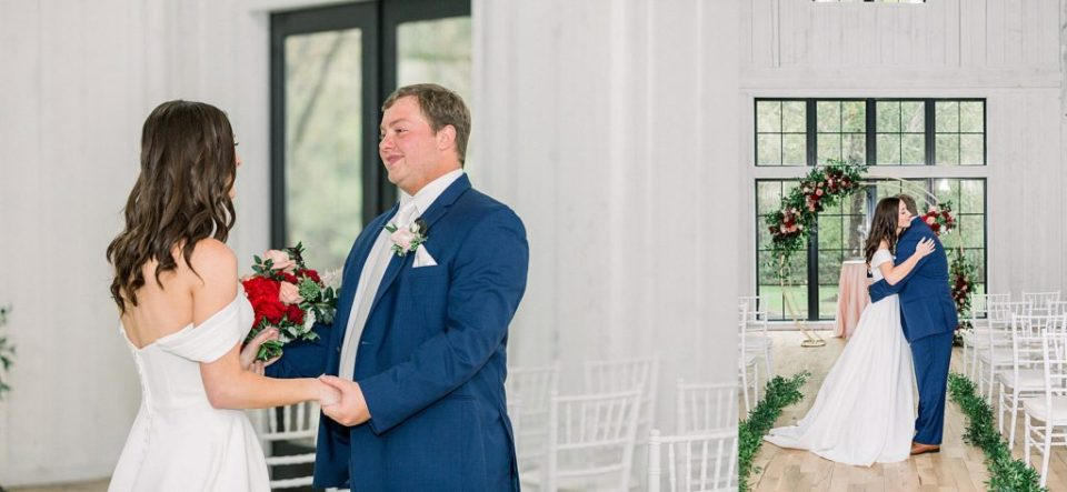 Bride and groom first look at Spain Ranch