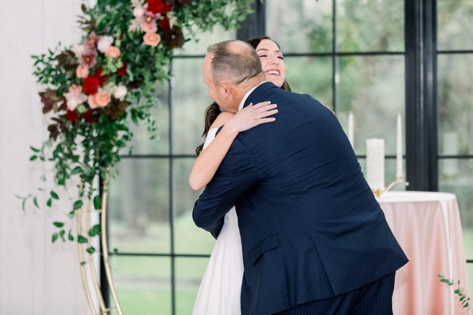 Bride and father of bride first look at Spain Ranch