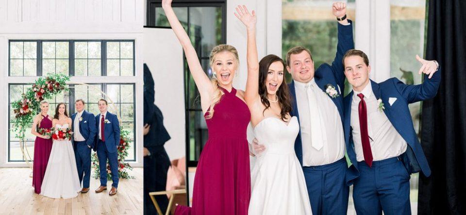 Bridal party under round arch alter