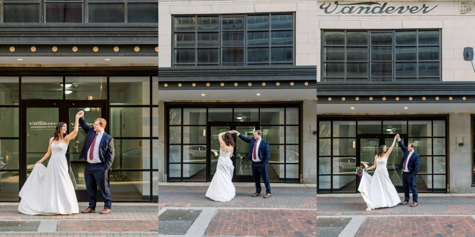 Bride and groom dancing in downtown Tulsa