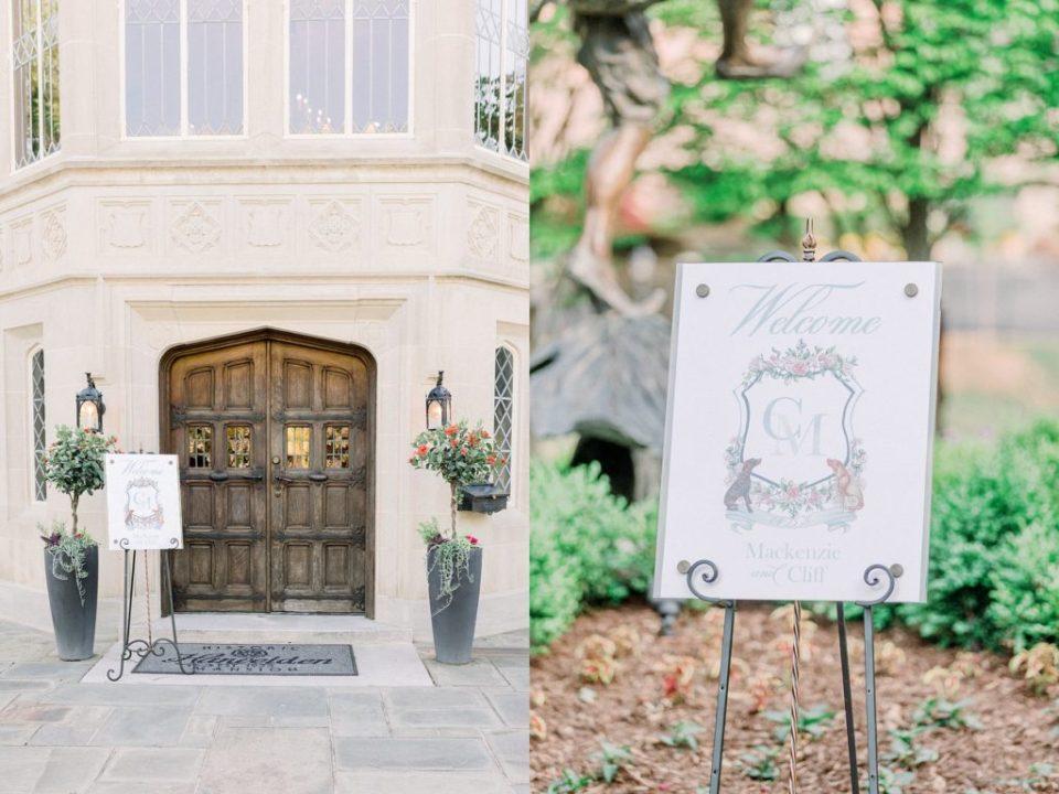 Tulsa Harwelden Mansion with Welcome wedding crest sign in front