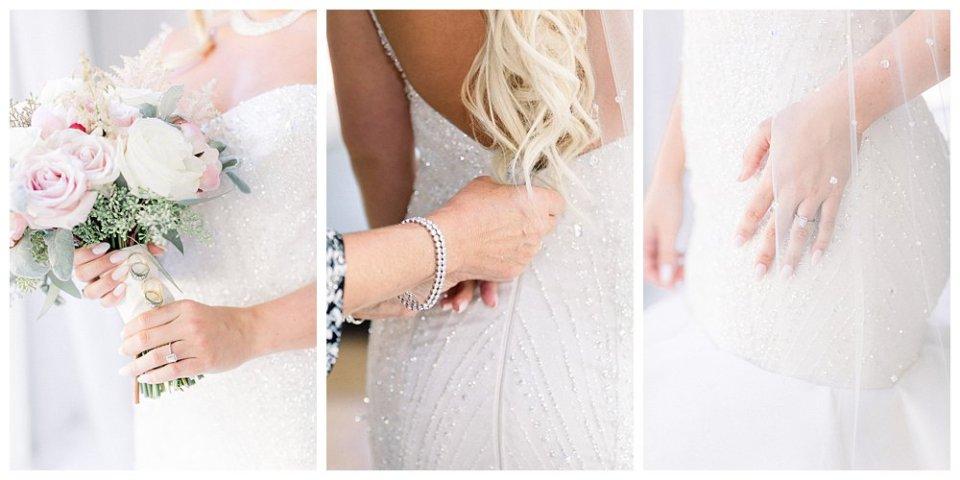 Swarovski crystal embedded trumpet ruffled wedding gown