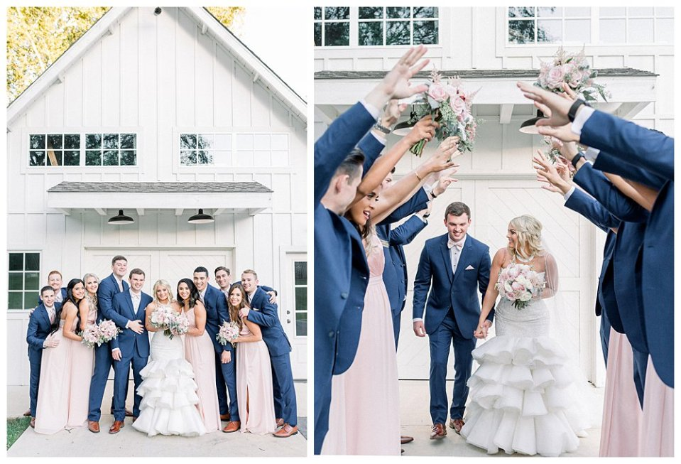 Bride and groom celebrate with bridal party at Spain Ranch