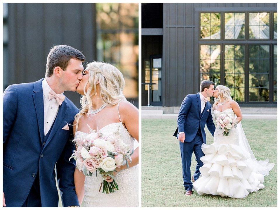 Bride and groom walking and kissing at Spain Ranch Tulsa wedding