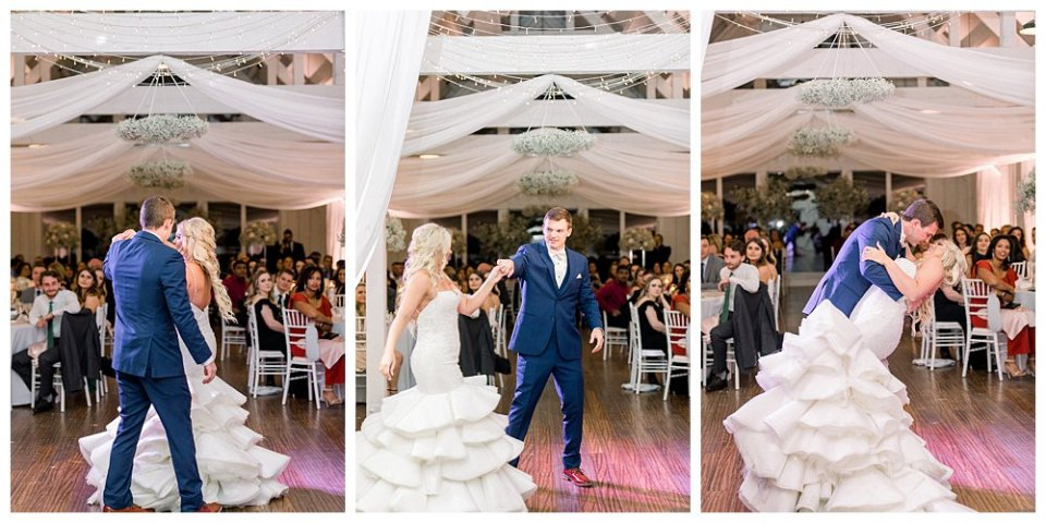 Bride and groom first dance at wedding reception Spain Ranch