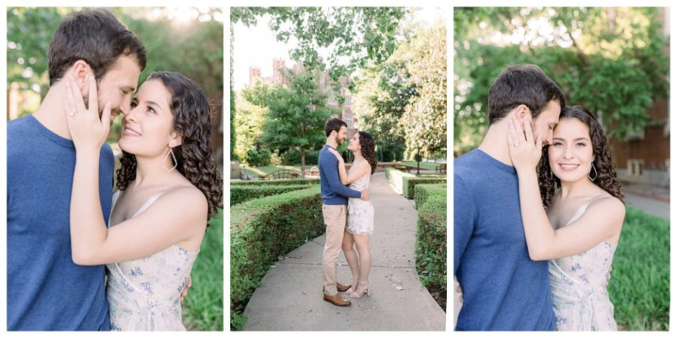 Couple embracing in garden during OU engagement session