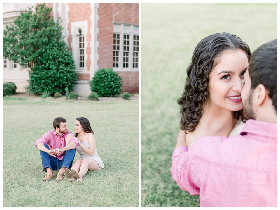Couple snuggling on grassy lawn at OU engagement session