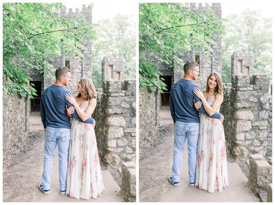 Couple standing on castle pathway