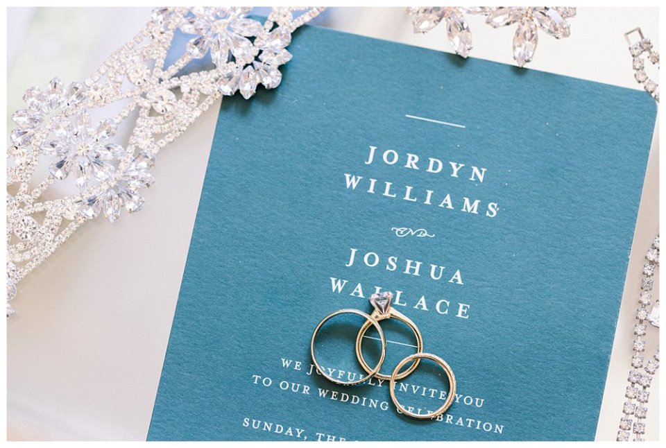 Gold wedding rings laying on wedding invitation