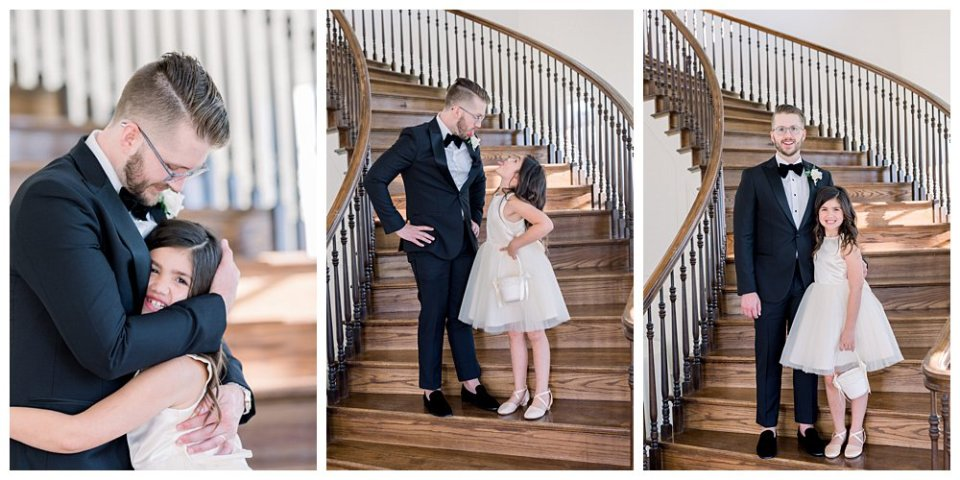 Groom standing on stairs with daughter/ flower girl at The Milestone Mansion