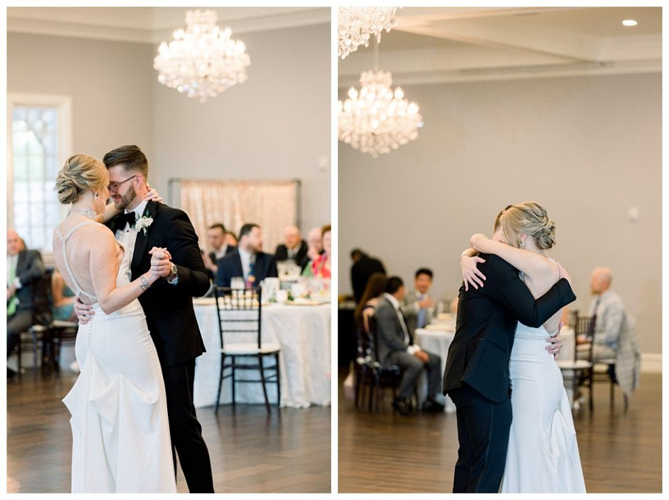bride and groom first dance at The Milestone wedding in Aubrey Texas