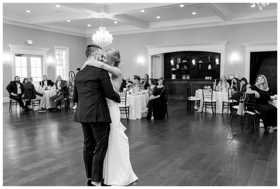BW bride and groom first dance at The Milestone wedding in Aubrey Texas
