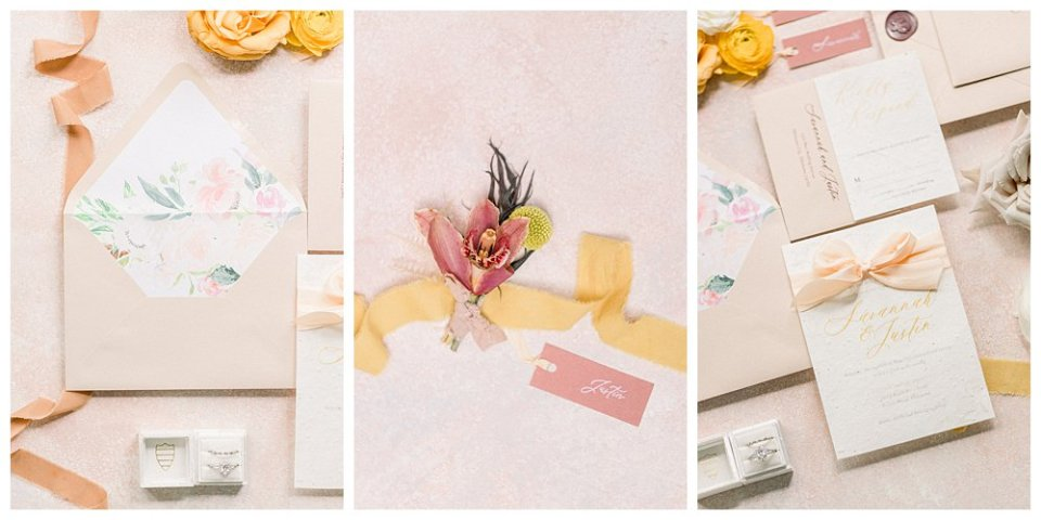 peach and cream wedding invitations