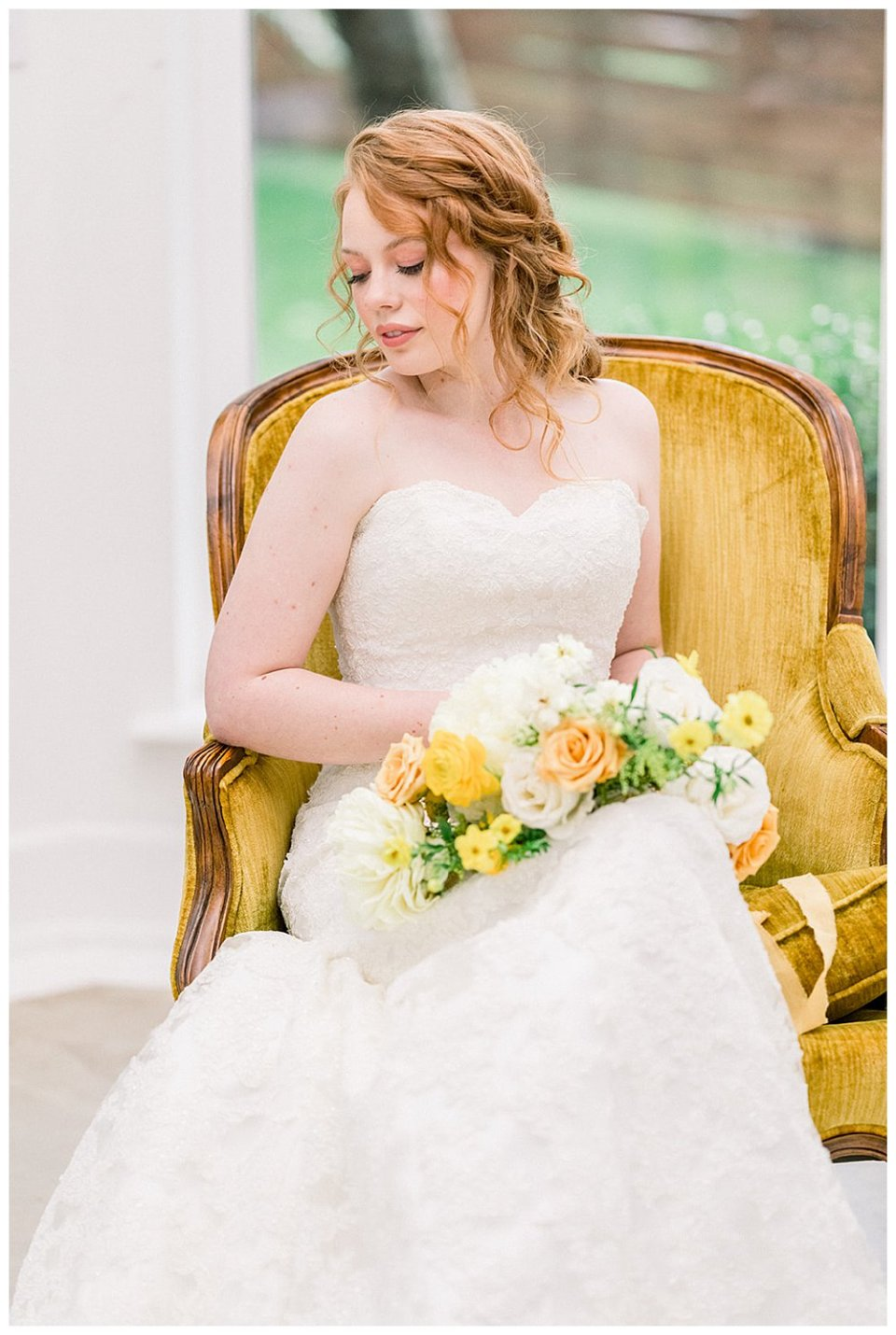 Bride sitting in vintage golden chair in Willow Creek Mansion bridal session