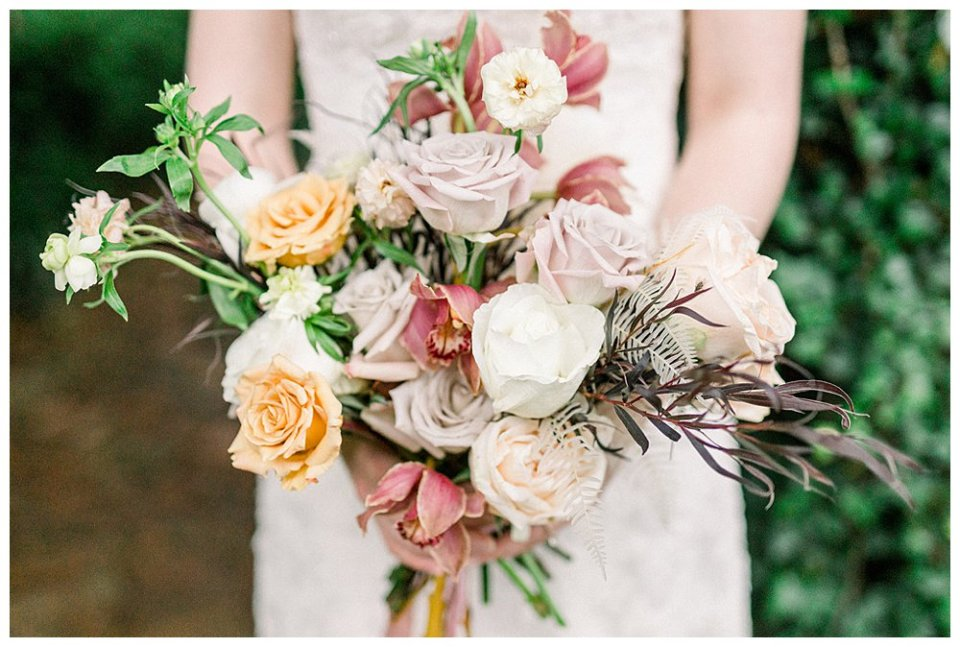 dusty pink white and gold rose bridal bouquet