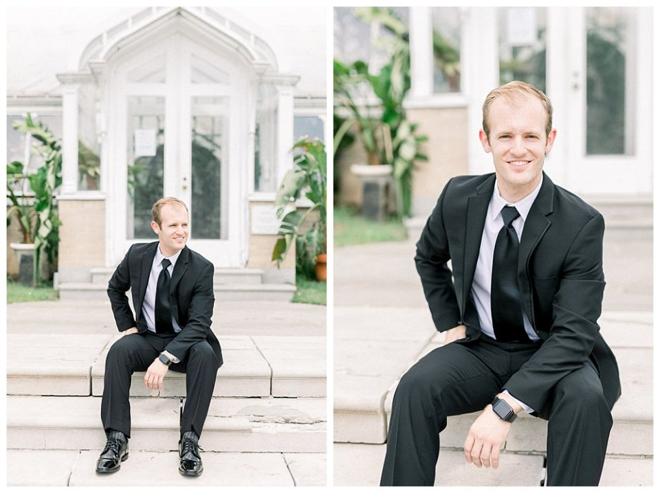 Groom getting ready at Mansion at Woodward Park wedding venue