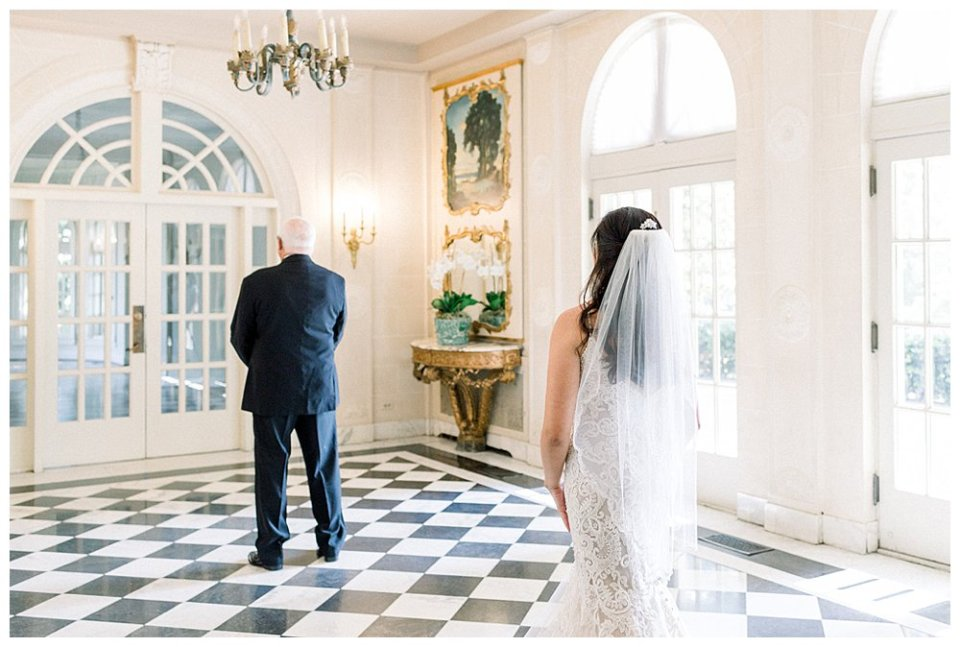 Bride first look with father at the Mansion at Woodward Park