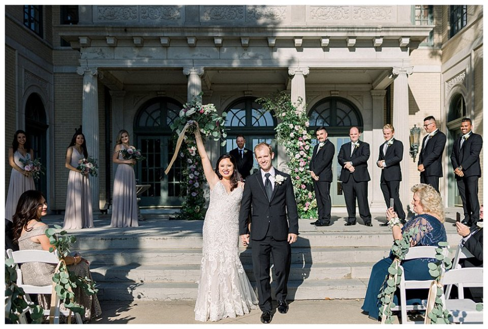 Bride and groom just married at Mansion at Woodward Park