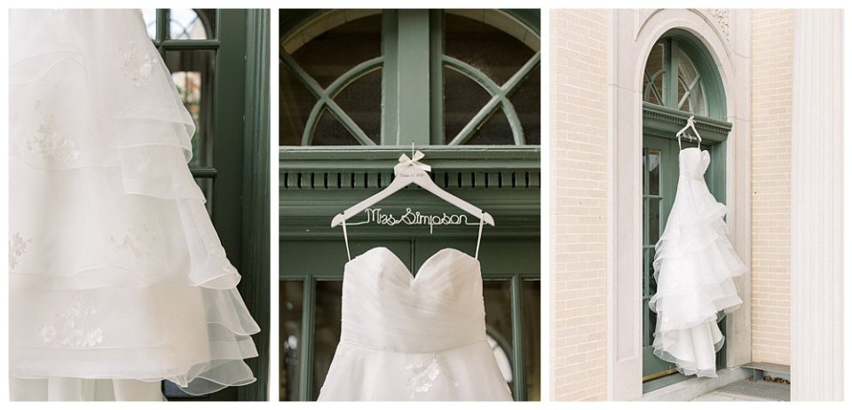 Wedding gown hanging from window a Mansion at Woodward Park wedding Wedding Stunning  Timeless Tulsa Photographer