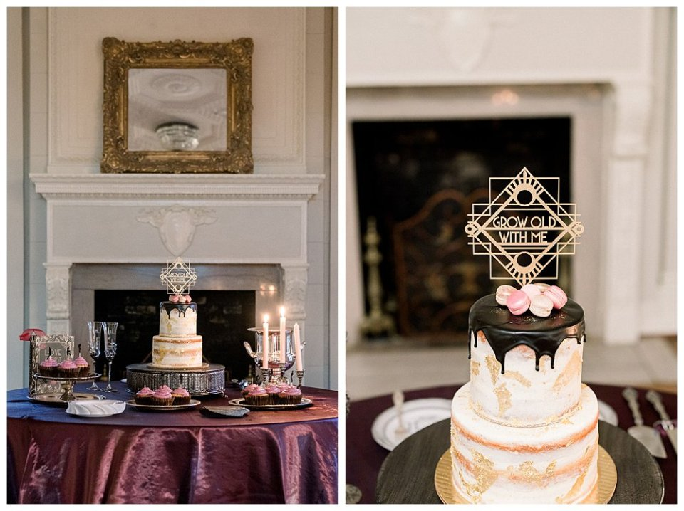 2 tiered shaved wedding cake grow old with me cake topper Mansion at Woodward Park elopement Stunning  Timeless Tulsa Photographer