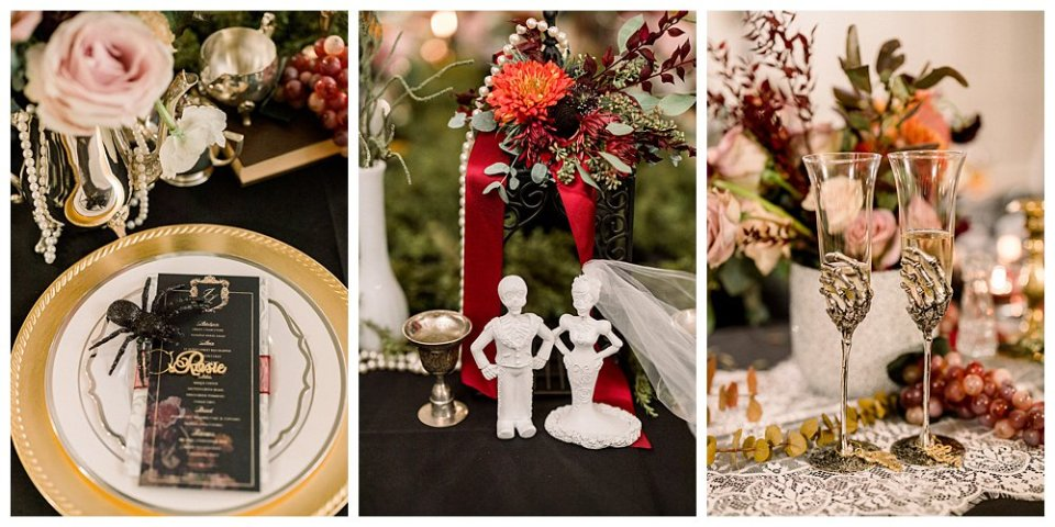 Goth victorian October wedding details- dish wear Mansion at Woodward Park elopement Stunning  Timeless Tulsa Photographer