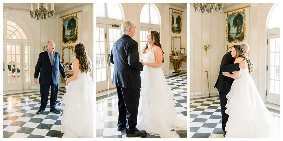 Father of the bride first look at Tulsa Garden Center Wedding- Mansion at Woodward Park wedding