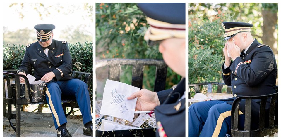 Groom opening gift from bride Mansion at Woodward Park elopement Stunning  Timeless Tulsa Photographer