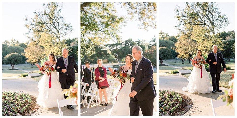 Bride walking aisle with father at Tulsa Garden Center