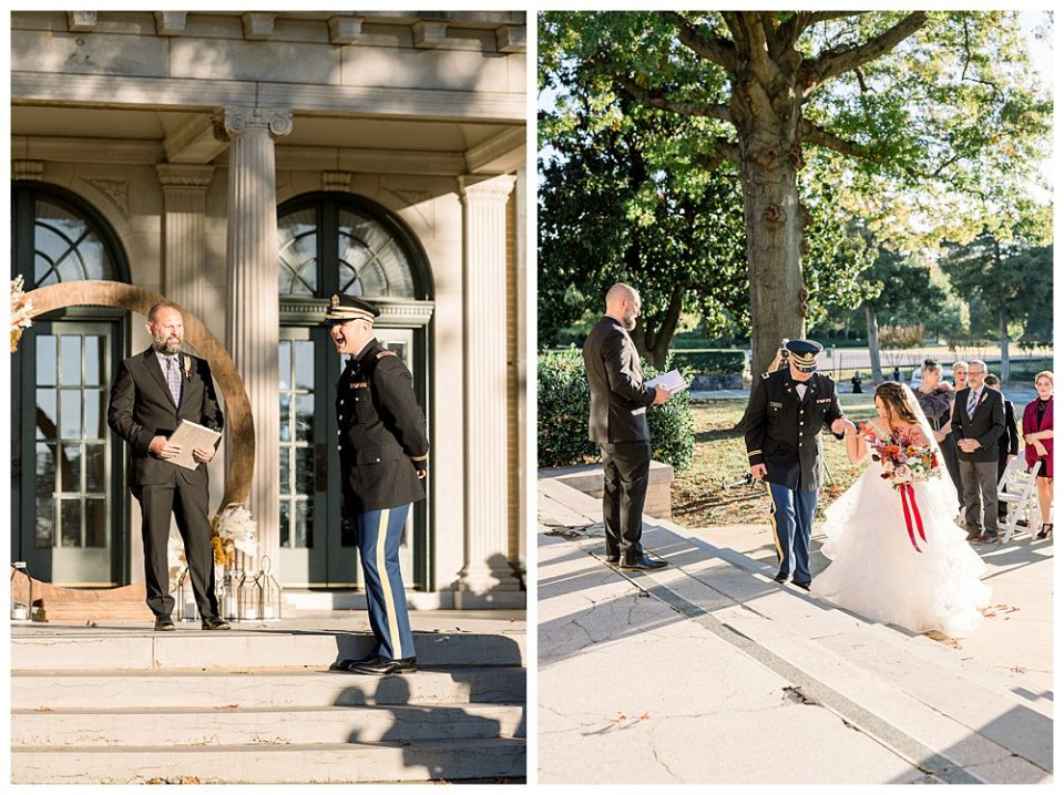 Groom sees bride for first time Mansion at Woodward Park elopement Stunning  Timeless Tulsa Photographer