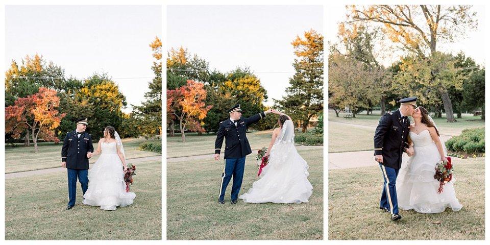 Bride and groom dancing in Woodward Park for Tulsa Garden Center wedding