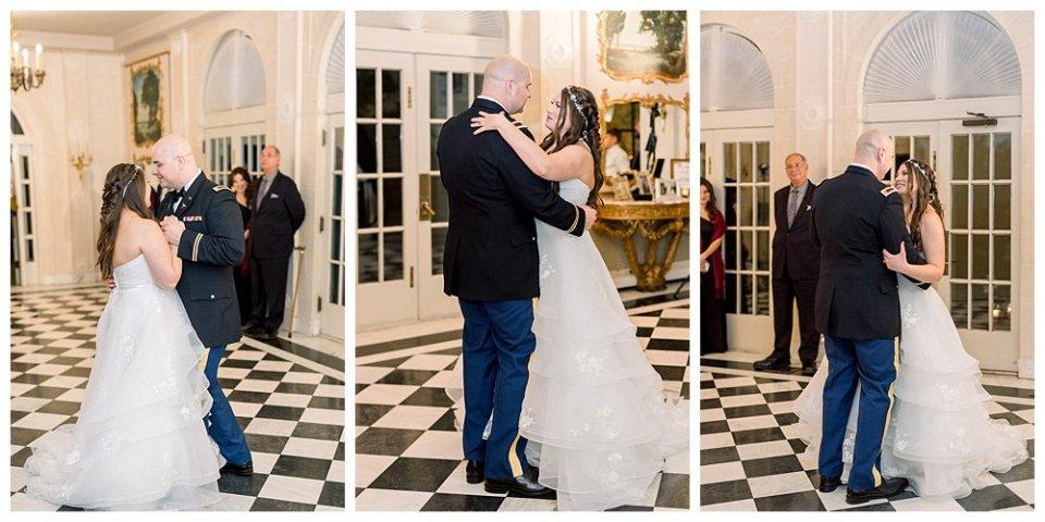 Bride and groom first dance at Tulsa Garden Center wedding- Mansion at Woodward Park