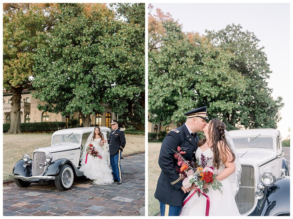 Military bride and groom kissing next to vintage car Mansion at Woodward Park elopement Stunning  Timeless Tulsa Photographer
