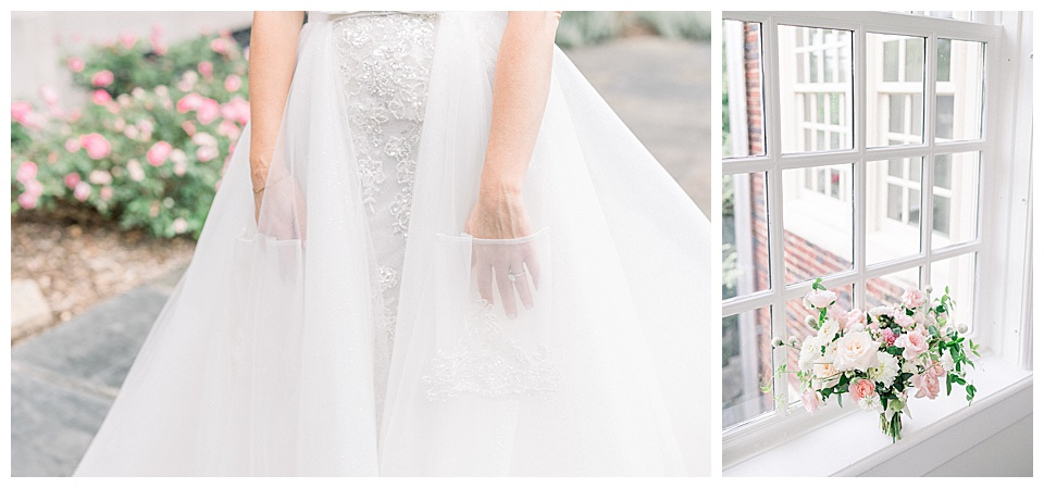 Wedding dress details and floral arrangement detail shots.