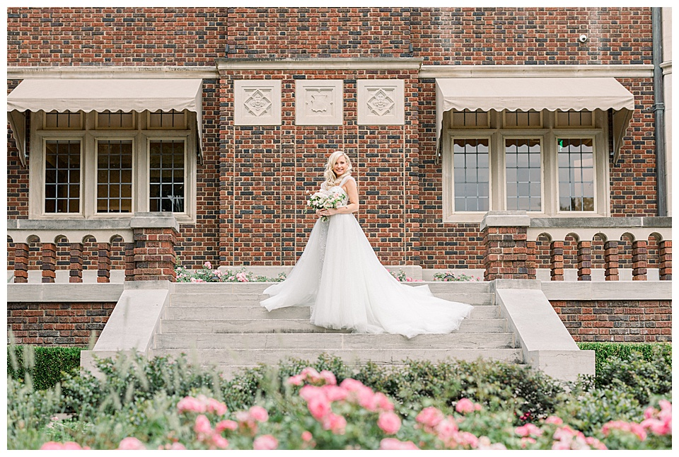 Stunning Bride posed in front of the Harwelden Mansion