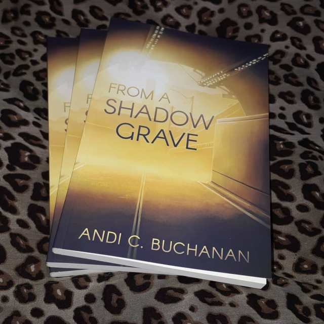 3 copies of From a Shadow Grave on a leopard print background. The cover depicts light at the end of a road tunnel