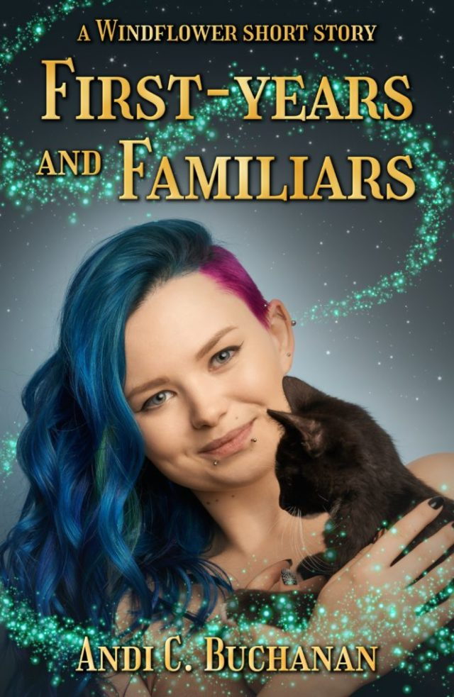 cover shows blue haired young woman holding a black kitten with magic sparkles around them