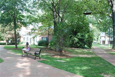 Senior Amanda Gross relaxes in front of Holland House before heading to her next class. The sociology building used to be to the right of the building before it was moved to accommodate the William Henry Belk Pavilion, which is currently there.