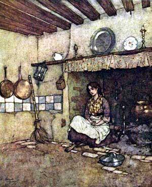 Ilustraţie cu Cenuşăreasa stând lângă vatră