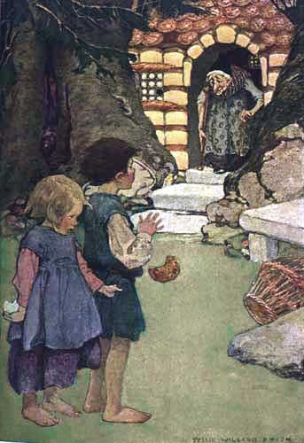 Imagine cu Hansel şi Gretel prinşi de vrăjitoare