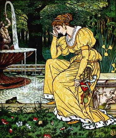Ilustraţie cu prinţesa pe fântână