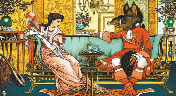 "Ilustrație de Walter Crane din ""Frumoasa și bestia"""