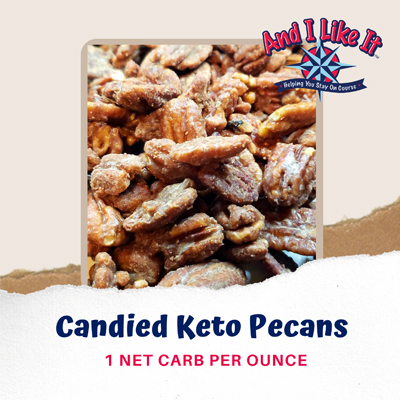 candied keto pecans, cream, low glycemic polyols, stevia extract powder, salt, one net carb per ounce