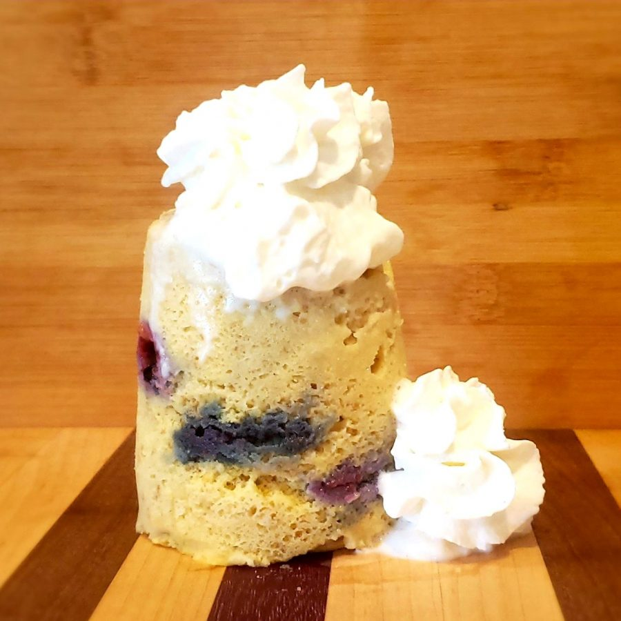 Keto, gluten free, low carb Blueberry Lemon Mug Cake