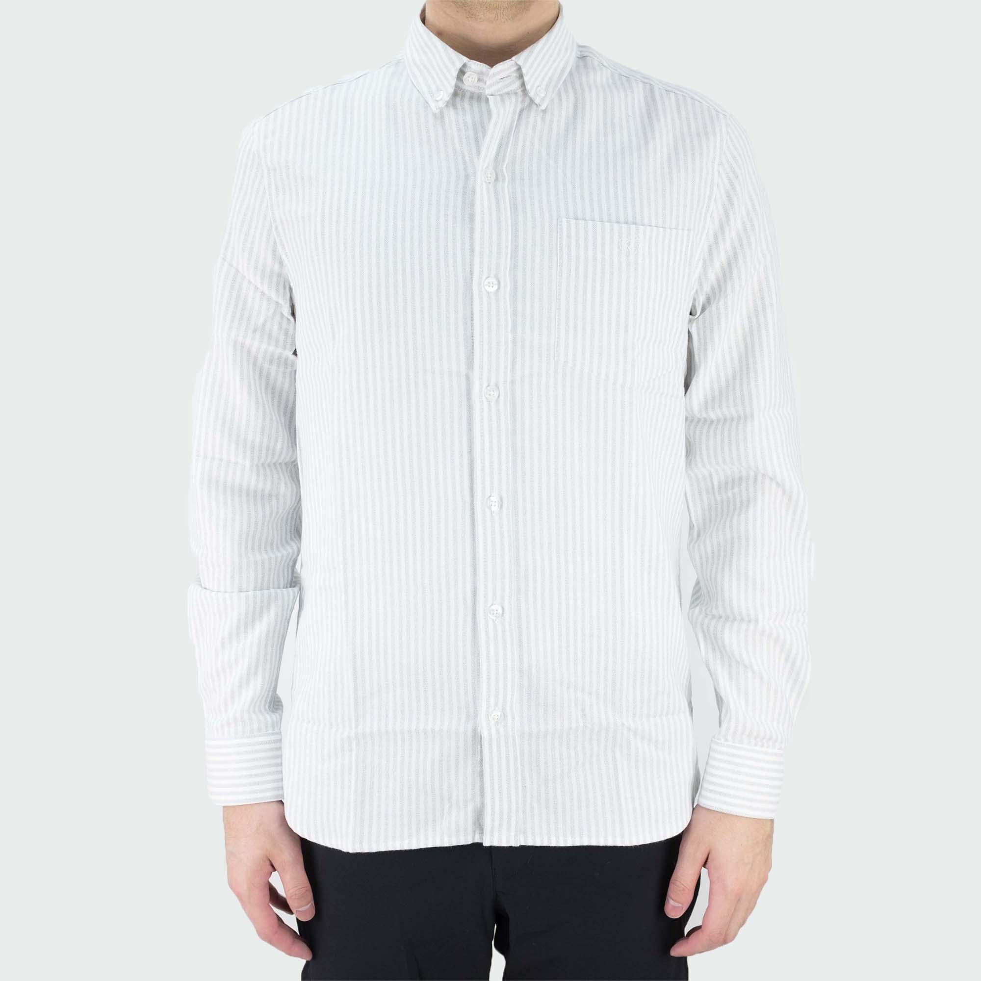 forét Beam Shirt - White/Light Grey