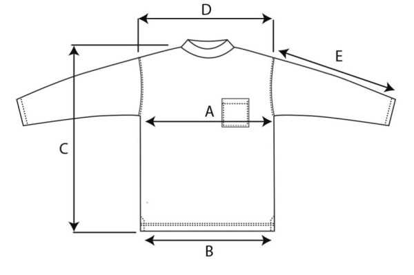 Terry Pullover Size Chart