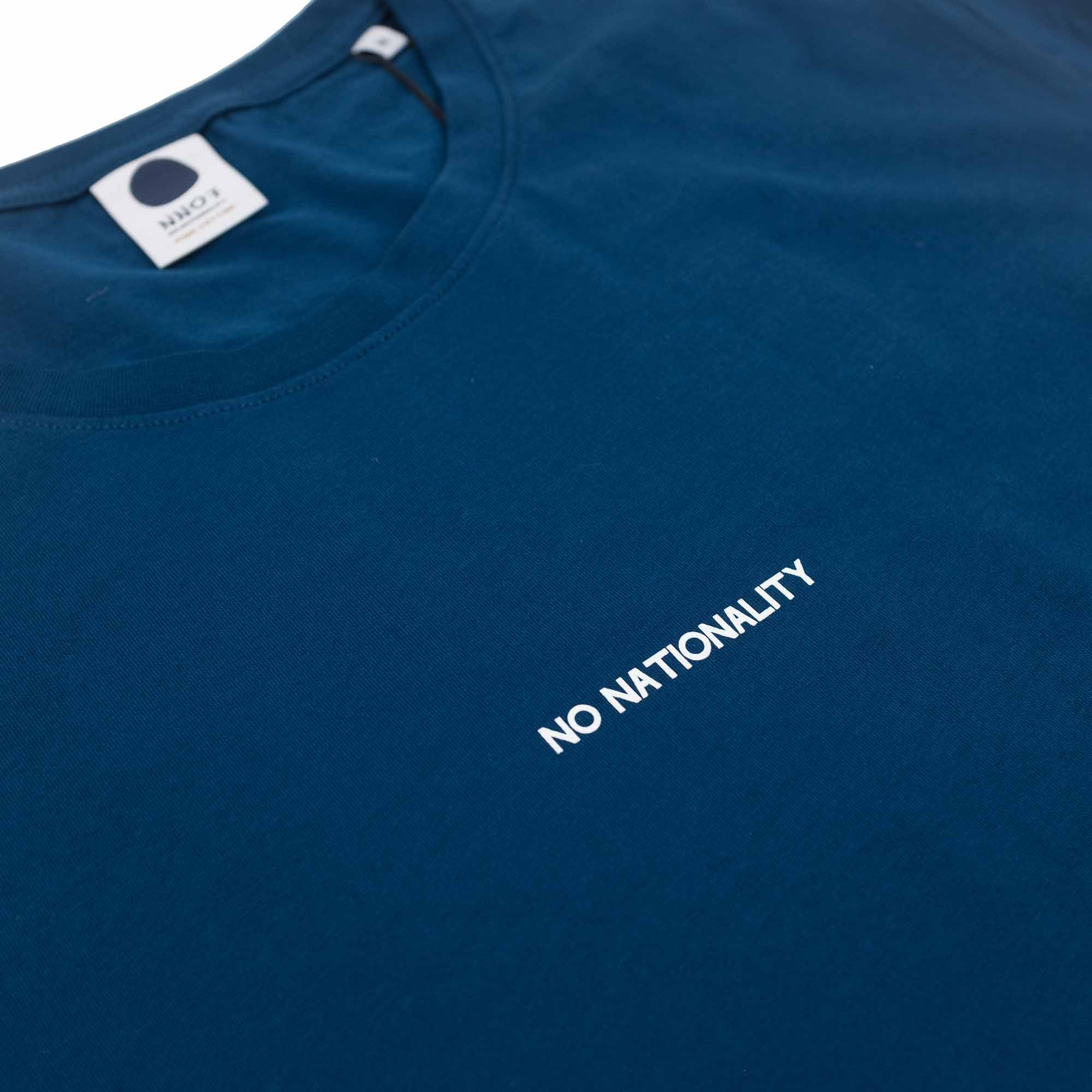 NN07 Ethan Print Tee 3208 - Aqua Navy