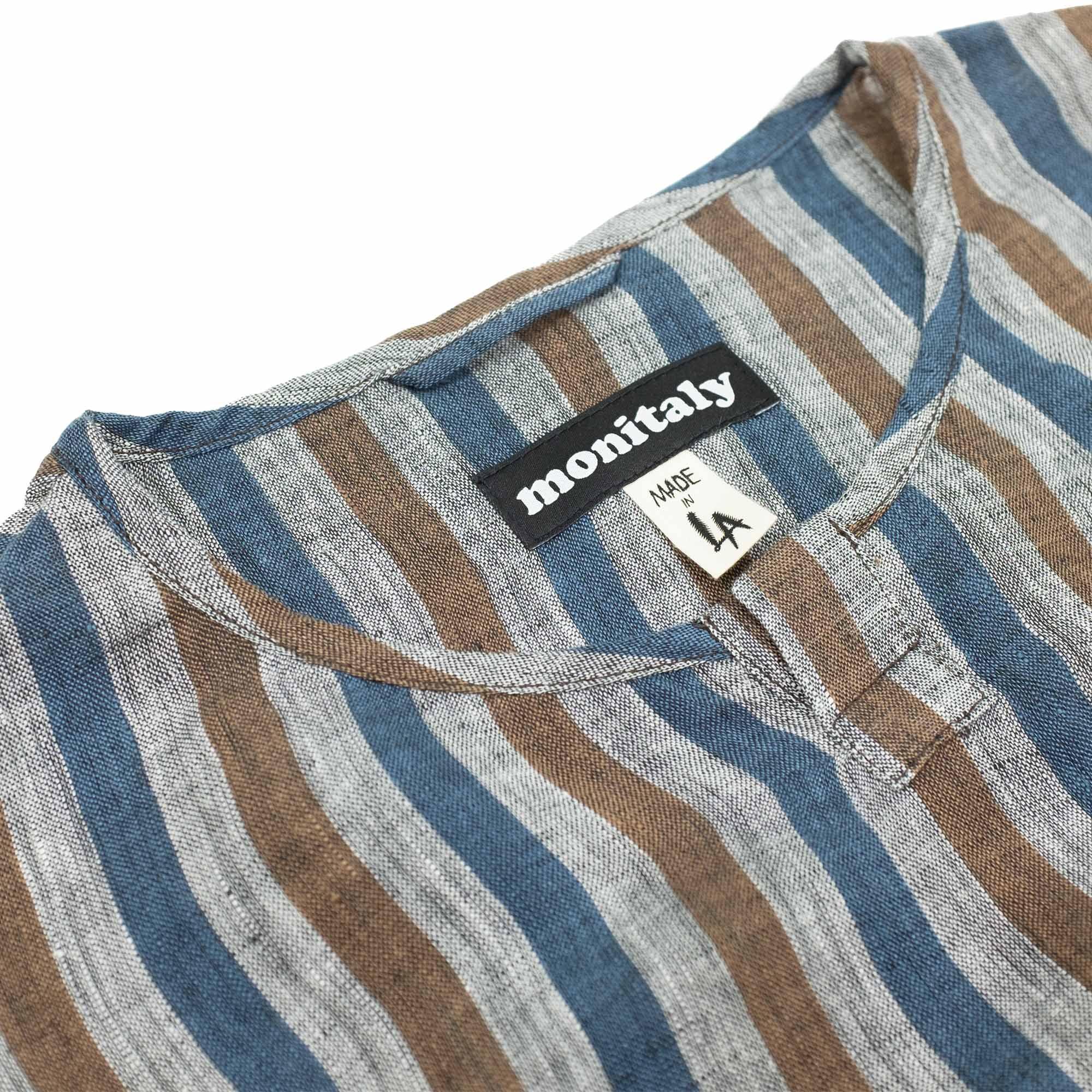 Monitaly L/S Crew Henley Pullover - Lt Linen Stripe